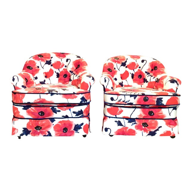 1990s Vintage Kate Spade Poppies Printed Fabric Swivel Chairs- A Pair For Sale