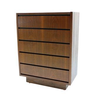 Mid Century Modern Walnut High Chest of 5 Drawers Dresser For Sale