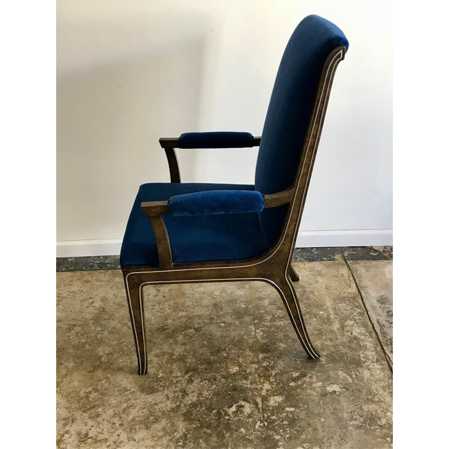 Blue Mid-Century Modern Blue Velvet Dining Chairs - Set of 4 For Sale - Image 8 of 11