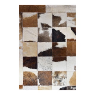 Handmade Cowhide Patchwork Area Rug - 6′6″ × 9′7″ For Sale