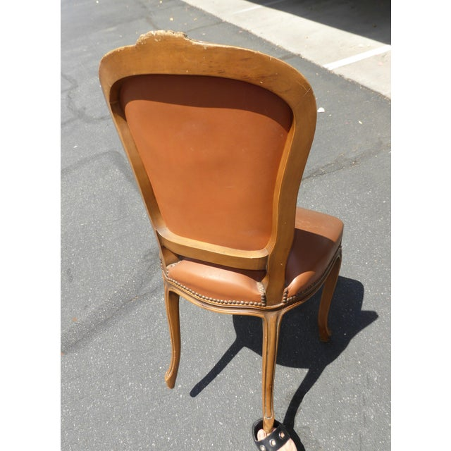 French Provincial Style Brown Leather Accent Chair For Sale In Los Angeles - Image 6 of 11
