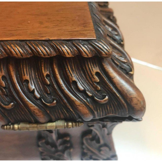 Brown 1990s Maitland-Smith Carved Mahogany Hinged Tea Caddy Box For Sale - Image 8 of 13