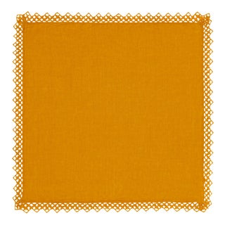 Once Milano Linen Napkin With Macramé in Mustard For Sale