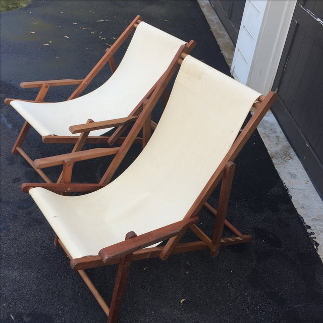 Wood Slingback Canvas Chairs - A Pair For Sale In Washington DC - Image 6 of 11