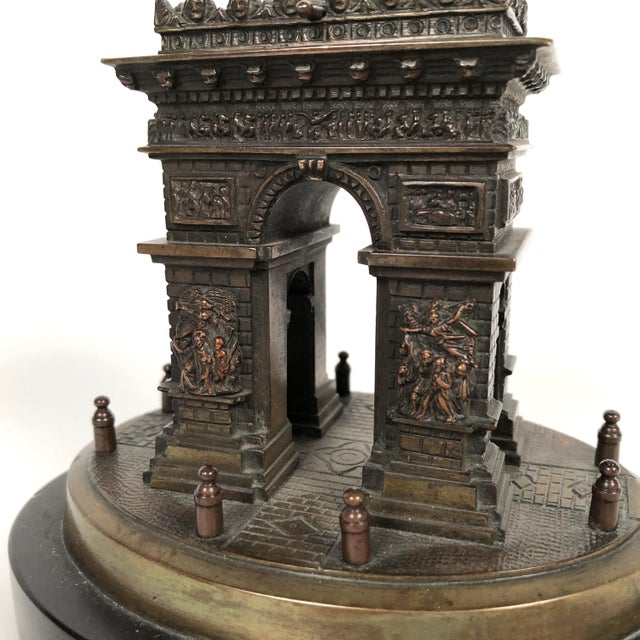 Black Marble Small Grand Tour Bonze Architectural Model of the Arc De Triomphe in Paris For Sale - Image 7 of 11