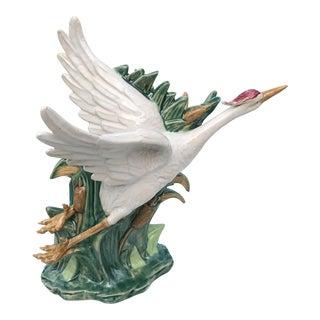 Coastal Regency Crane Leaf and Cattail Vase For Sale