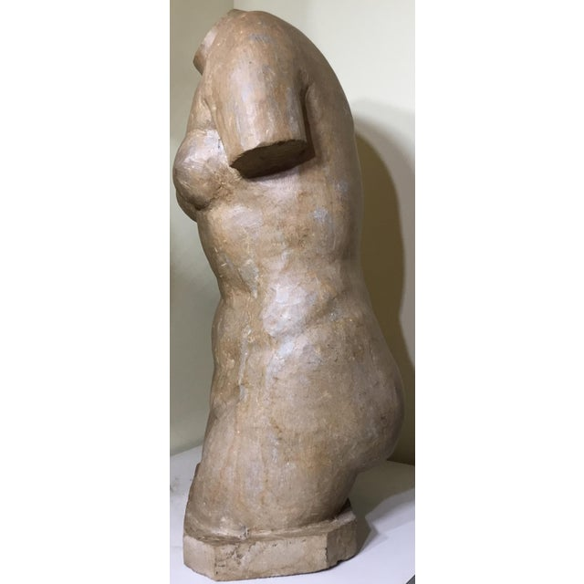Tan Vintage Marble Female Torso Statue For Sale - Image 8 of 11