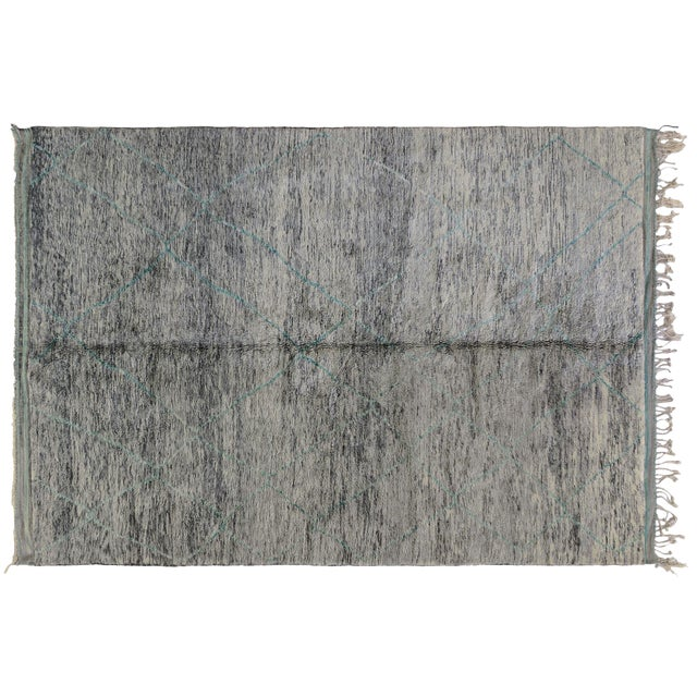 Moroccan Turquoise Accent Rug - 8′6″ × 12′1″ - Image 1 of 2