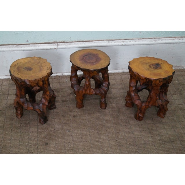 Mid Century Small Tree Stump Carved End Tables - Image 2 of 10