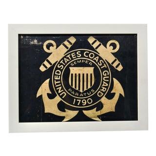 Framed Coast Guard Flag, Coastal Decor For Sale