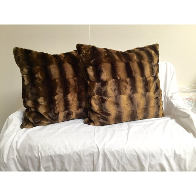 Contemporary Oversized Faux Mink Pillows - A Pair - Image 2 of 6