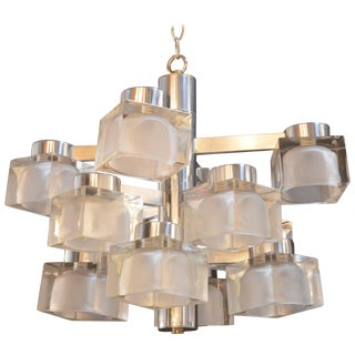 Sciolari Chrome and Frosted Glass Chandelier For Sale
