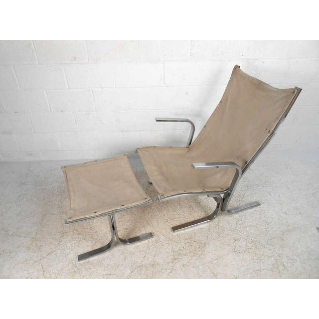 Ingmar Relling Mid-Century Modern Ingmar Relling Style Sling Lounge Chair and Ottoman For Sale - Image 4 of 10