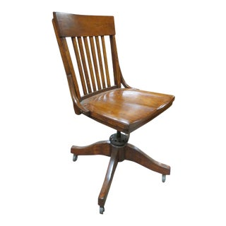 1910s Antique Walnut Swivel Desk Chair For Sale