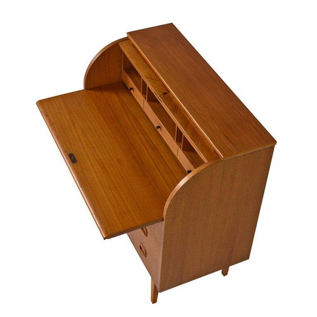 Teak Midcentury Swedish Modern Egon Ostergaard Rolltop Secretary Desk With Key For Sale - Image 7 of 9