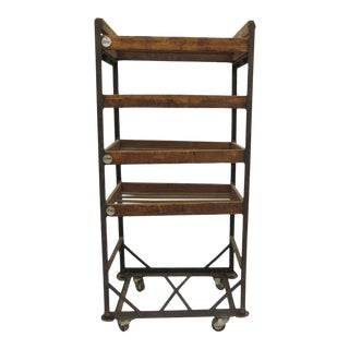 Vintage Industrial Wood and Iron Baker's/Shoe Rack For Sale