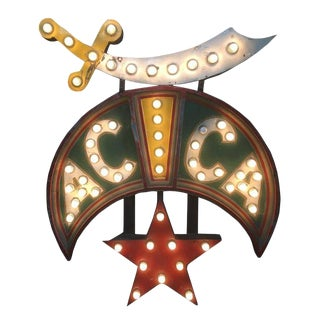 Acca Shriners Lighted Sign in Original Paint For Sale