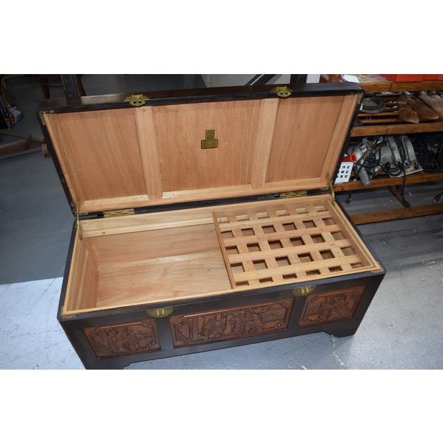 Wood 1950s Vintage Chinese Rosewood Hand Carved Camphor Interior Trunk For Sale - Image 7 of 9