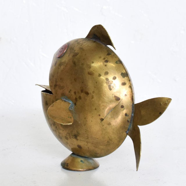 Los Castillo Mid Century Mexican Modernist Fish Brass Ashtray, Castillo Era For Sale - Image 4 of 10