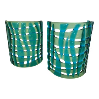 Art Glass Candle Screens - a Pair For Sale