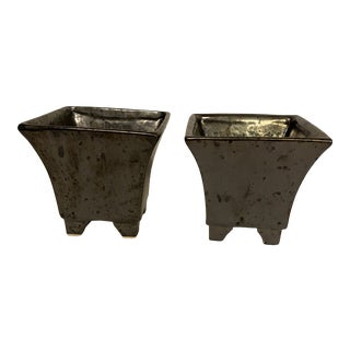 Vintage Late 20th Century Modern Pheiffer Porcelain Hand Made Planters - a Pair For Sale
