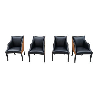 John Hutton for Donghia Serpentine Two Toned Plush Leather Armchairs - Set of 4 For Sale