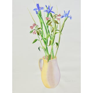Contemporary Drawing, Bouquet in a Yellow Vase For Sale