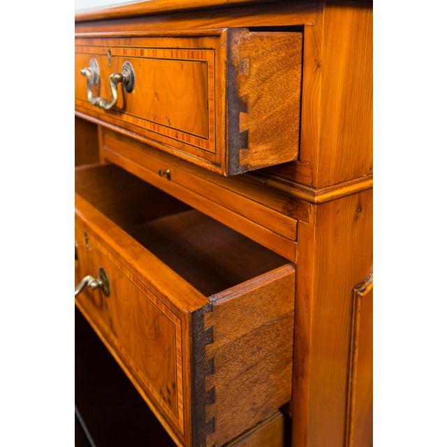 English English Traditional Myrtlewood Burled Walnut Kneehole Executive Desk For Sale - Image 3 of 9