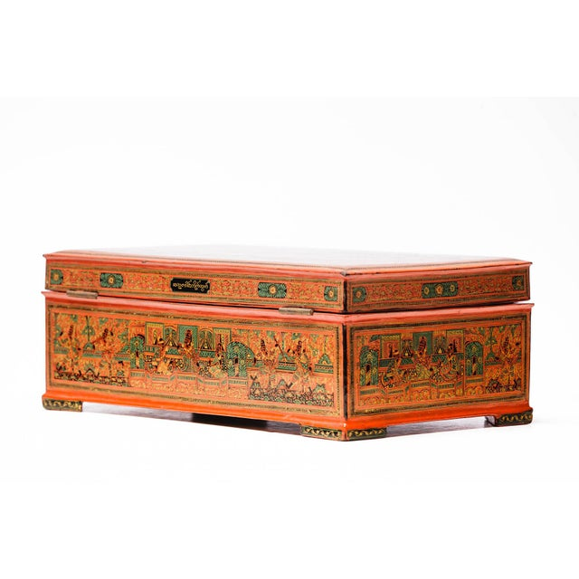 Brick Red Asian Antique Extra Large Hand-Painted Red Burmese Lacquered Box For Sale - Image 8 of 11