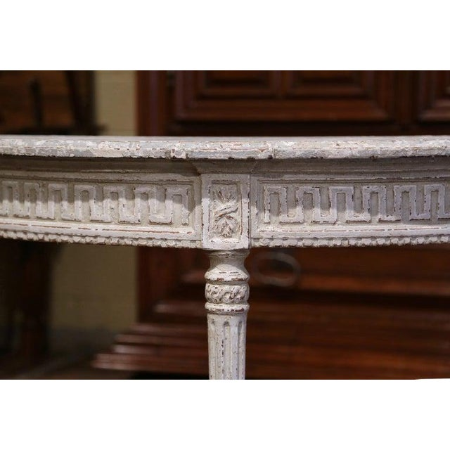 19th Century French Louis XVI Carved Painted Demilune Console Tables-a Pair For Sale - Image 9 of 11
