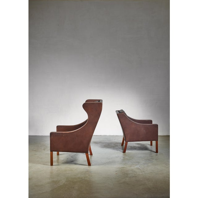 Borge Mogensen Brown Leather Wingback and Lounge Chair With Ottoman For Sale - Image 6 of 7