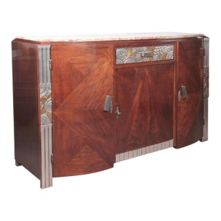 French Art Deco Gold and Silver Leaf Hand-Carved Parquetry Inlaid Cabinet For Sale