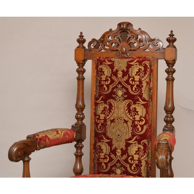 Pair of Antique English Carved Oak Arm Chairs c. 1880 - Image 4 of 5