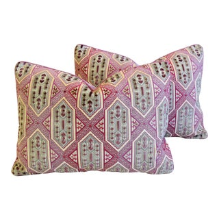 "Designer French Pink/Lavender Epingle Velvet Feather/Down Pillows 23"" X 17"" - Pair For Sale"