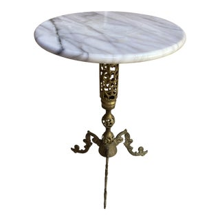 Mid 20th Century Marble & Brass Filigree End Table For Sale