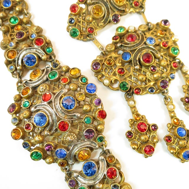 Metal Victorian Austro-Hungarian Bejeweled Crystal Parure 1870s For Sale - Image 7 of 13