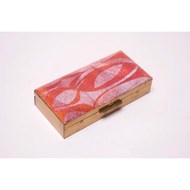 Mid-Century Modern Enamel and Brass Cigarette Holder / Trinket Box For Sale - Image 10 of 10