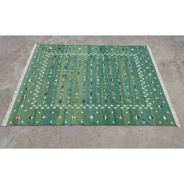 Handmade Cotton Vegetable Dyed Green Shooting Star Rug For Sale - Image 11 of 11