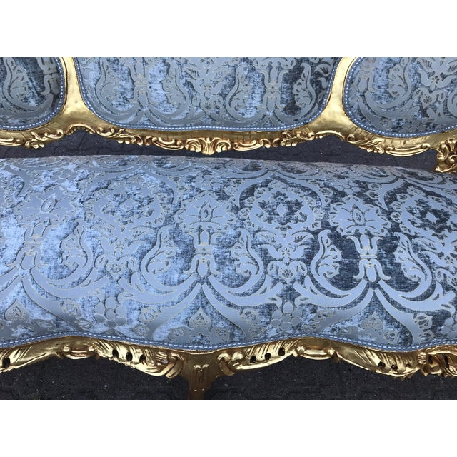 Baroque Italian Rococo Baroque Blue Silk Upholstered Gold Frame Sofa For Sale - Image 3 of 5