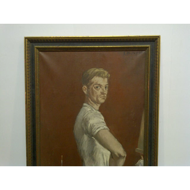 "Cabin 1960s ""The Painters Boyfriend"" Signed Framed Painting on Canvas by Frederick McDuff For Sale - Image 3 of 9"