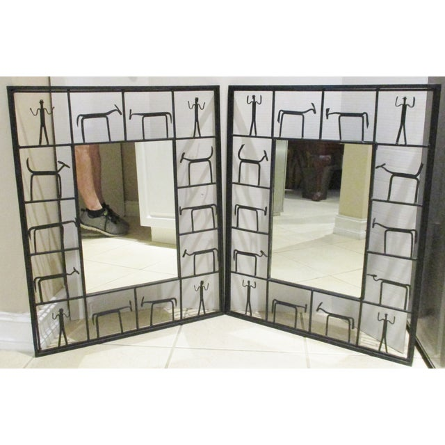 Frederick Weinberg Mid-Century Modern 1950s Giacometti Style Wrought Iron Mirror I have a pair of these available. Check...