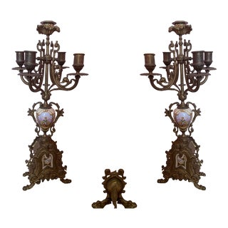 Antique Bronze Candelabras - a Pair For Sale