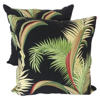Contemporary Floral Bark-Cloth Pillows - A Pair