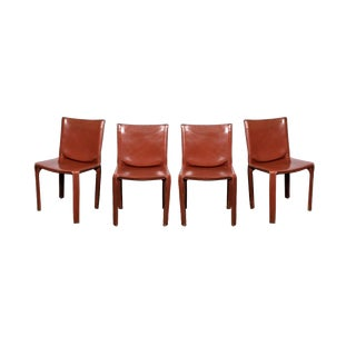 1977 Mario Bellini Cab 412 Chairs in Cognac Russian Red Leather for Cassina - Set of 4 For Sale