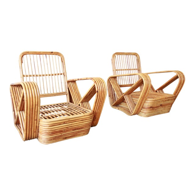 Bamboo Pretzel Chairs Attributed to Paul Frankl - A Pair For Sale