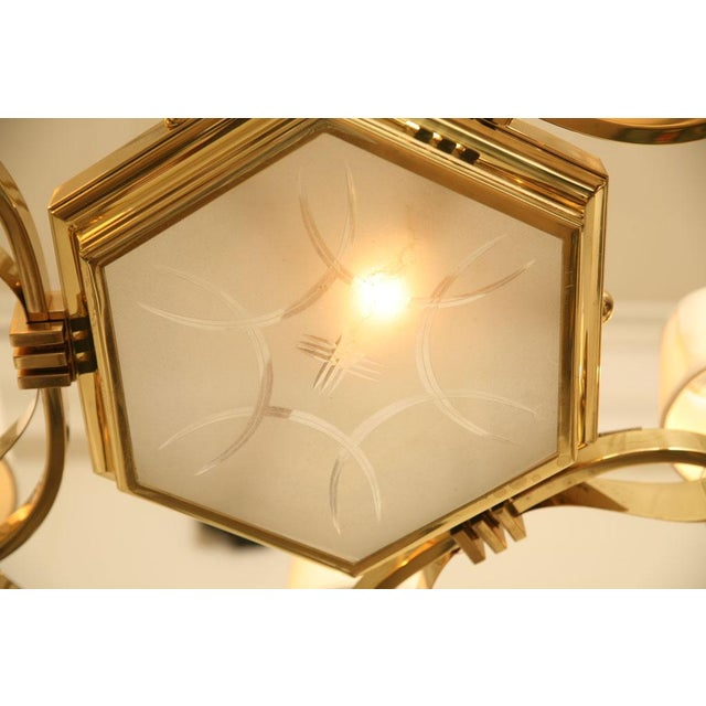 French Brass and Glass Chandelier Inspired by Gilbert Poillerat - Image 8 of 9