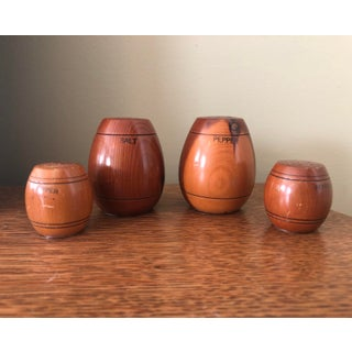 """""""Give Thanks Always"""" Vintage Wooden Barrel Salt and Pepper Shakers - Set of 4 Preview"""