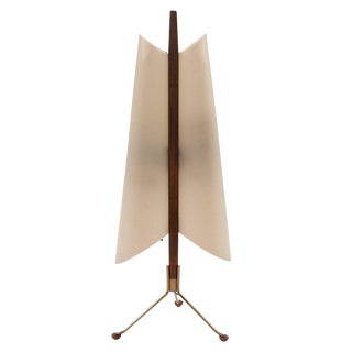 Architectural 60s Table Lamp in Brass & Mahogany For Sale