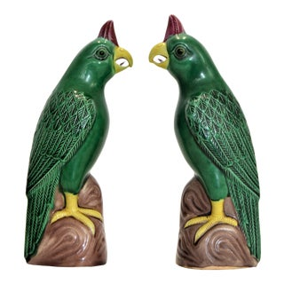 Vintage Small Chinese Porcelain Parrot Bird Figurines -A Pair-Oriental Asian Mid Century Modern Boho Palm Beach Chic Sculpture Ceramic Pottery Phoenix For Sale