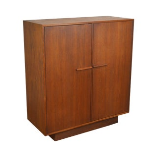 Danish Modern Style Mid Century Modern Teak 2 Door Bedroom Cabinet For Sale